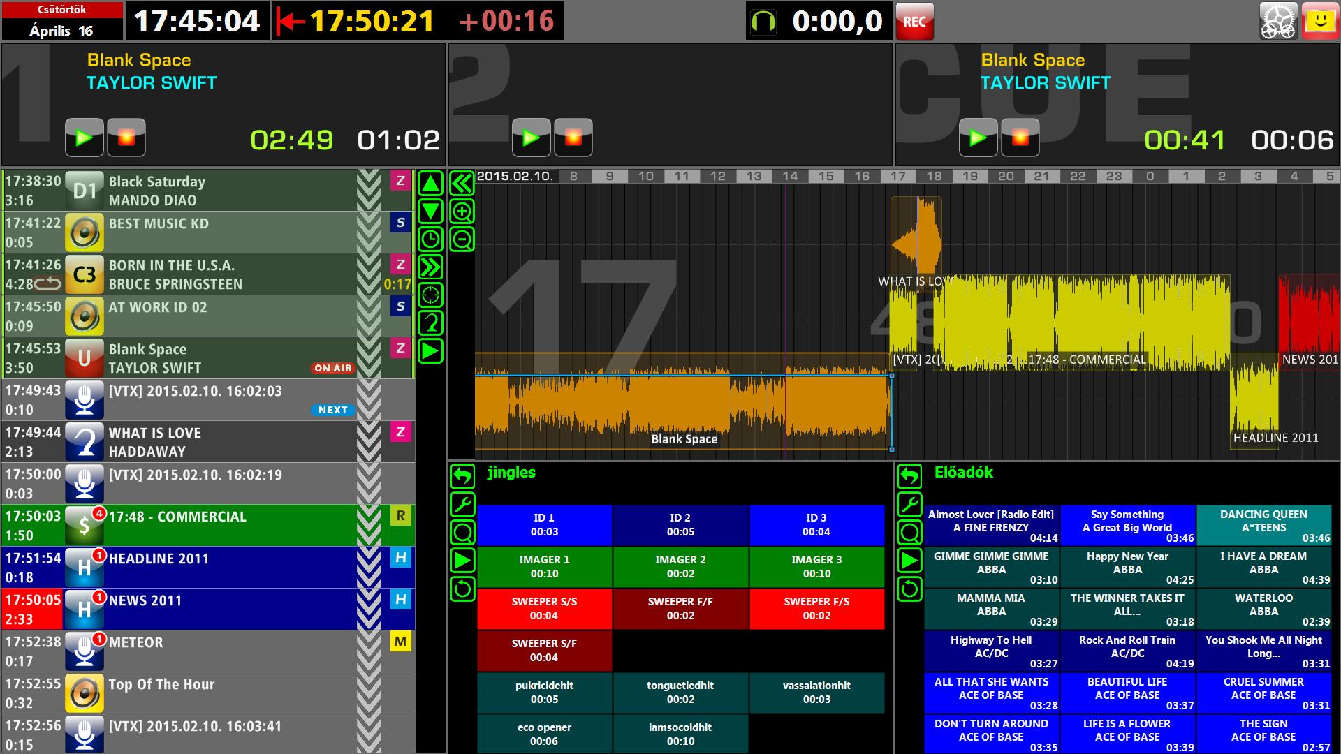 Radio Automation NAUTILUS Jukebox main screen